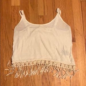 Light ivory tank top with lace trim